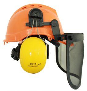 Forstschutzhelm mit Visier und Gehörschutz